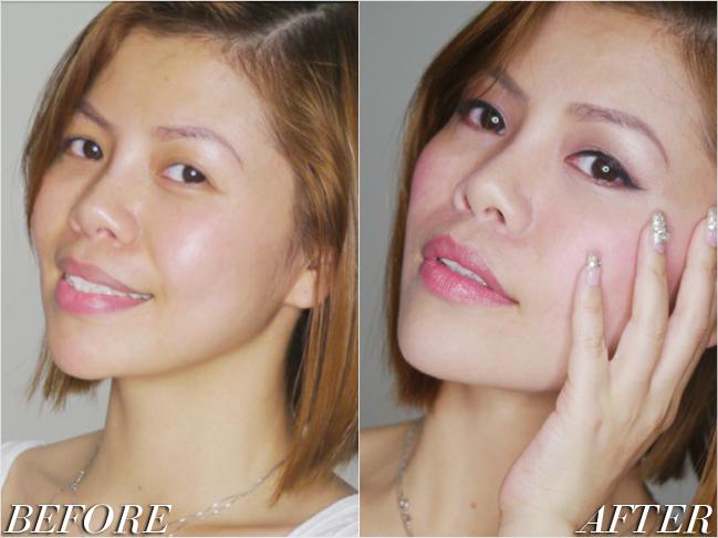 Crystal Phuong- natural make-up before and after