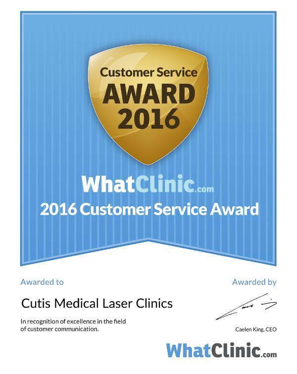 Cutis Wins Again WhatClinic.com Award for Excellent Customer Service